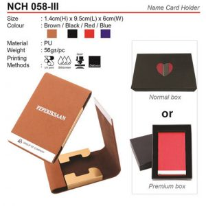 Size: 6.0cm(W) x 9.5cm(L) x 1.4cm(H) Colour: Black, Brown, Red, Blue Material: PU Packing: Come with standard Normal box or Premium artcard box (Extra RM1.70/pc)