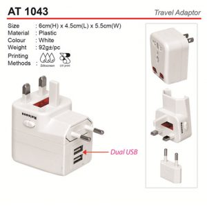Travel Adapter with dual usb (AT1043)