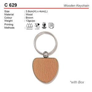 Love shaped Wooden Keychain (C629)