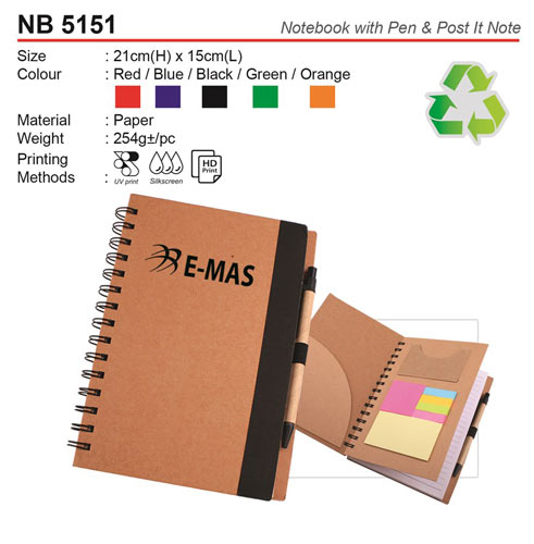 Eco notebook with Pen & Post it note (NB5151)