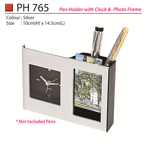 Pen Holder with Clock & Photo Frame (PH765)