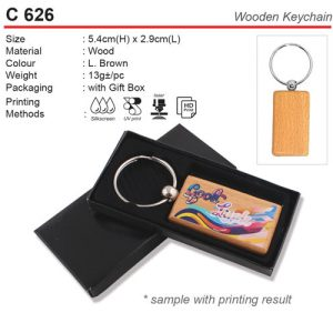 Wooden Keychain with Box (C626)